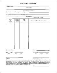 Certificate Of Origin (Non NAFTA)